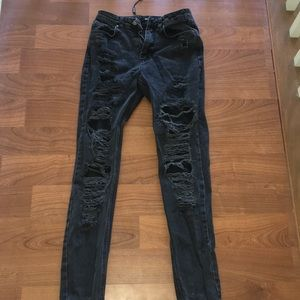 MissGuided Black Ripped Jeans